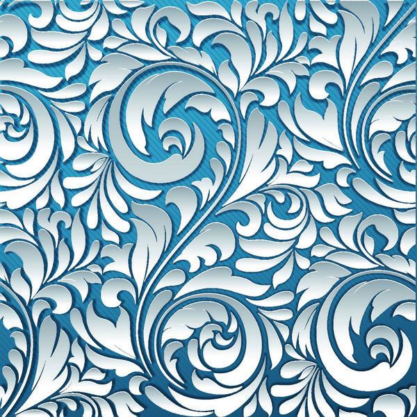 3D Paper cutting floral pattern vector 05