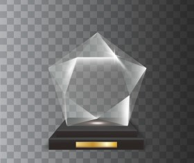 3D five-pointed star acrylic glass trophy award vector