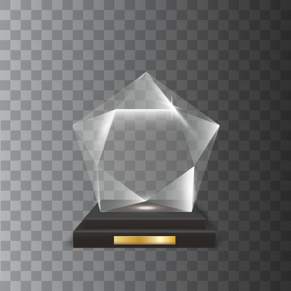 3D five pointed star acrylic glass trophy award vector