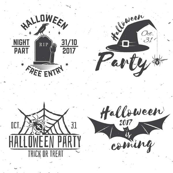 4 Kind 2017 Halloween label vector set