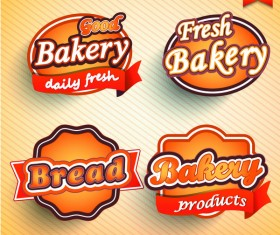 4 Kind bakery labels vector design