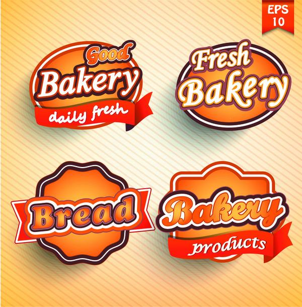 4 Kind bakery labels vector design
