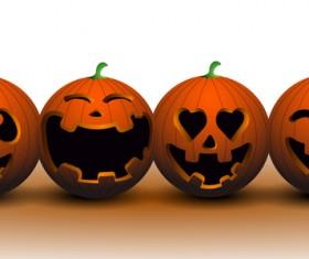 4 halloween pumpkin vector material