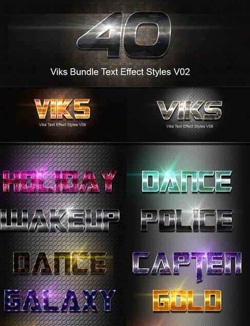 40 Kind Bundle Text Effect Photoshop Styles
