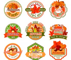 9 Kind autumn sale labels with badge vector
