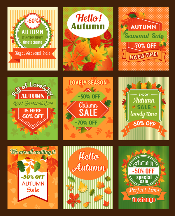 9 Kind autumn special sale poster vector