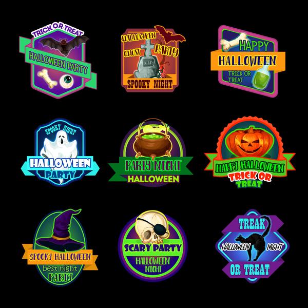 9 Kind halloween labels sticker vector