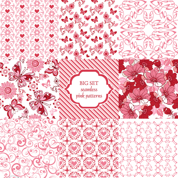 9 Seamless ornament pattern with pink hearts and butterflies vector