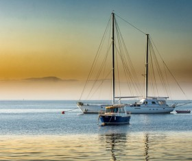 A yacht parked in the bay Stock Photo