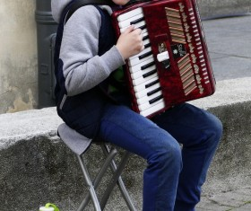 Accordion boy Stock Photo