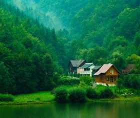 Aoyama green water forest holiday house Stock Photo