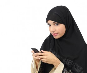 Arab woman to play smart phones Stock Photo