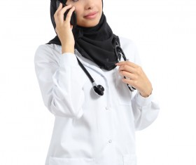 Arab women doctors call Stock Photo