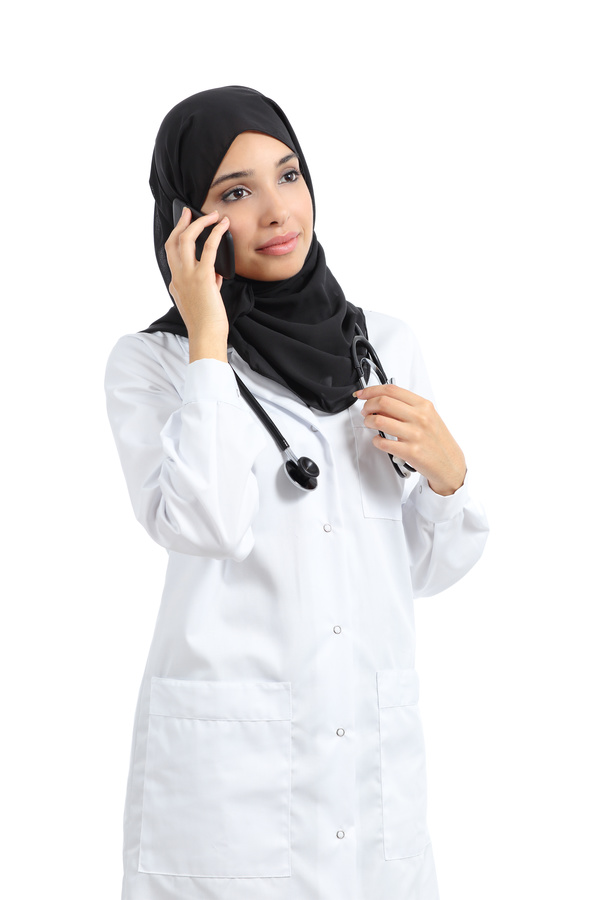 Arab women doctors call Stock Photo