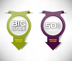 Arrow with special offer labels design vector