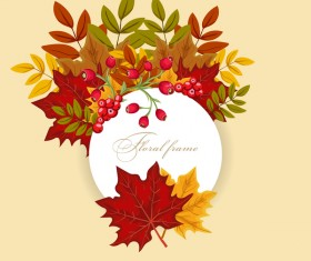 Autumn card with flower frame vector 01