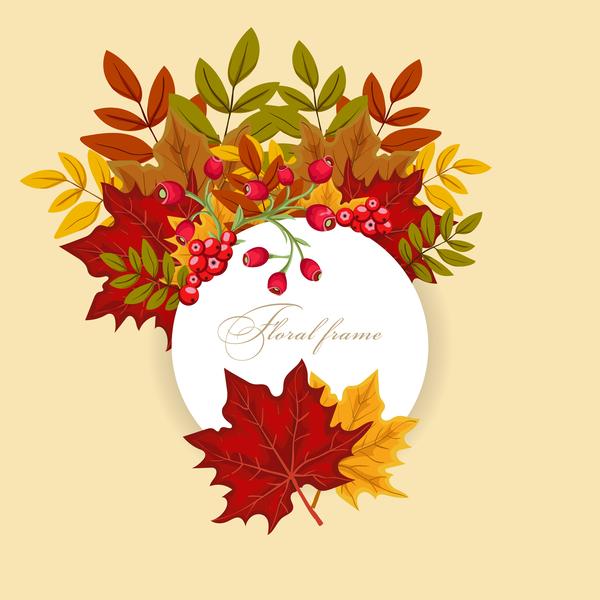 Autumn card with flower frame vector 01