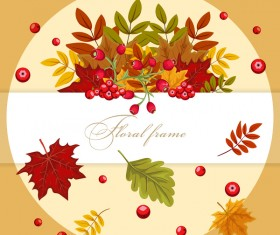 Autumn card with flower frame vector 02