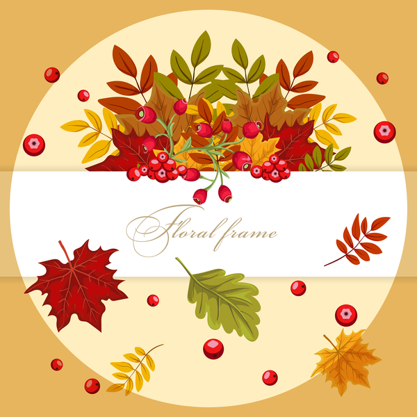 Autumn card with flower frame vector 02