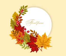 Autumn card with flower frame vector 03