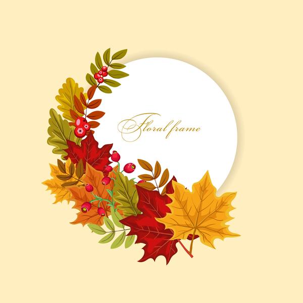 Autumn card with flower frame vector 03