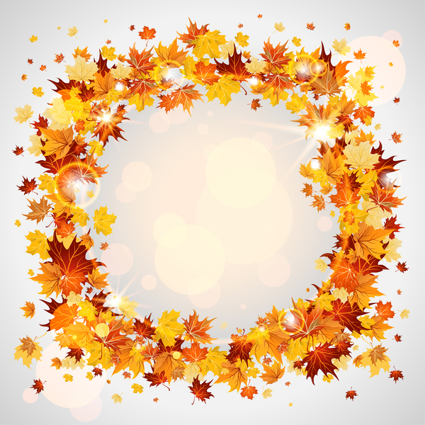 Autumn laeves frame design vector