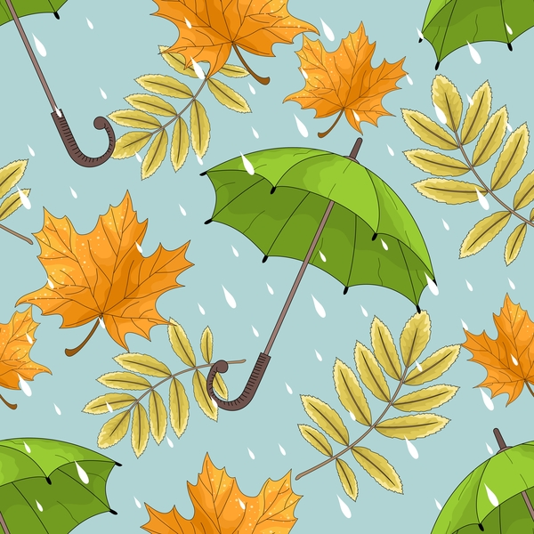 Autumn leaves and umbrellas seamless pattern vector