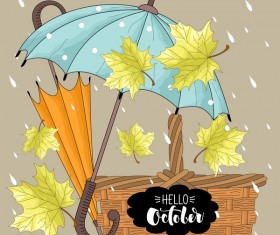 Autumn leaves and umbrellas with rain background vector