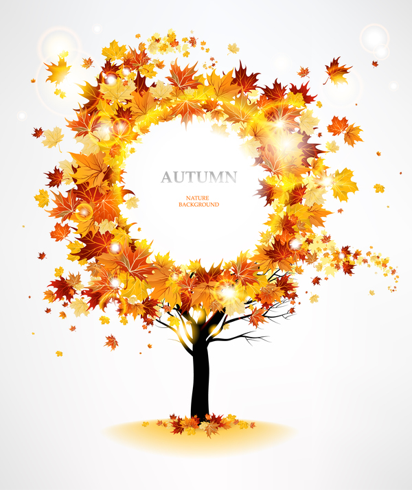 Autumn leaves frame with tree vector material