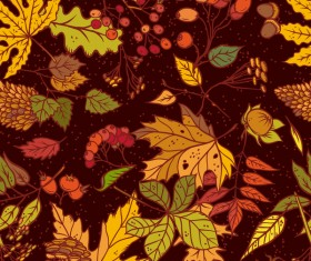 Autumn leaves with fruit seamless pattern vectors
