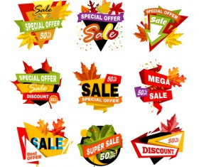 Autumn leaves with super sale labels vector