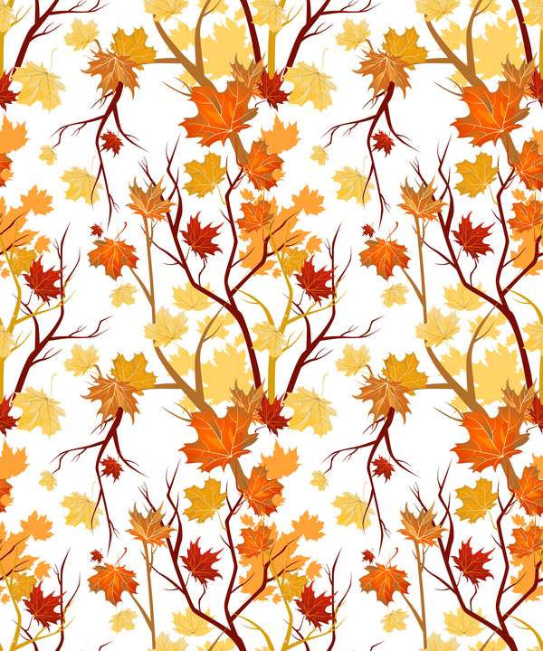 Autumn leaves with tree branches pattern vector