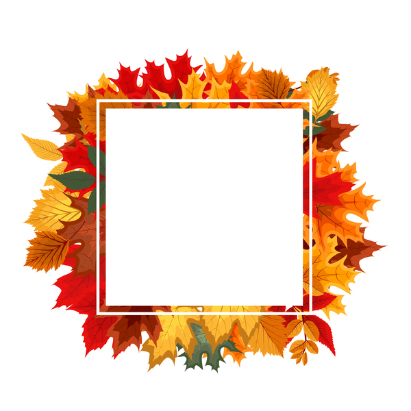 Autumn leaves with white blank frame vector