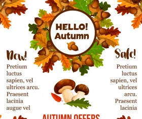 Autumn offer poster with mushroom vector
