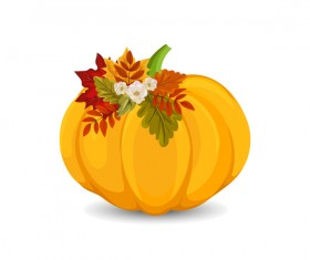 Autumn pumpkin with flower vectors