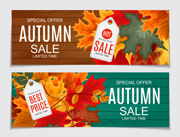 Autumn sale banners with tags vector 01