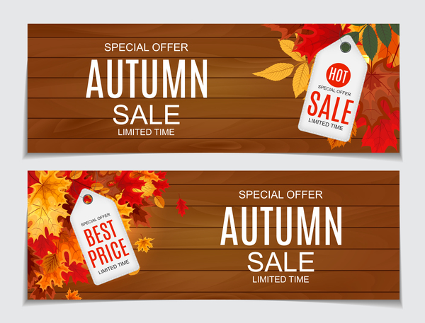 Autumn sale banners with tags vector 02