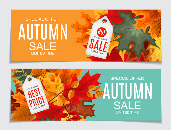 Autumn sale banners with tags vector 04