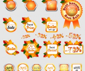 Autumn sale labels with badge and button vector