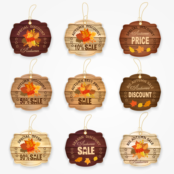Autumn sale wooden tags vector