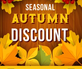 Autumn season discount material design vector