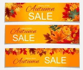 Autumn special offer banners template vector 01