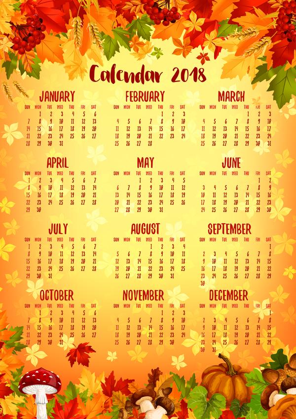 Autumn Styles 2018 Calendar Template Vector 12 Free Download