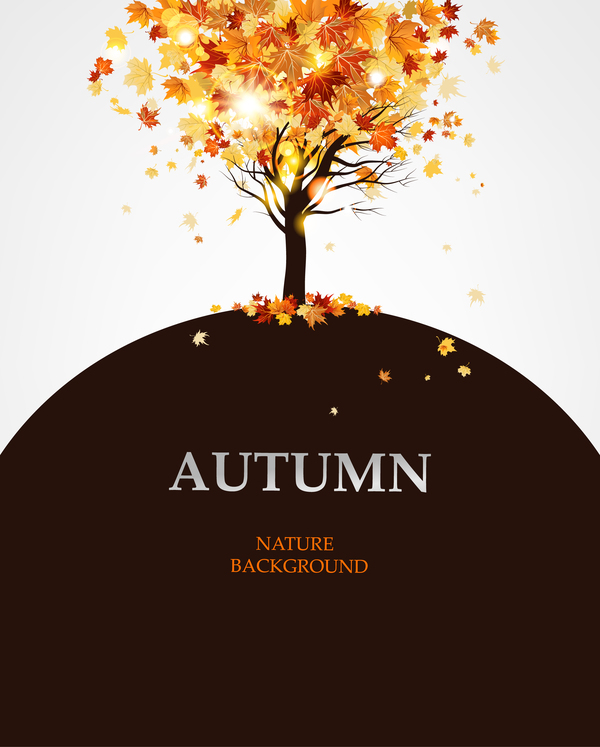 Autumn tree with brown background vector