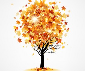Autumn tree with leaves vector materila