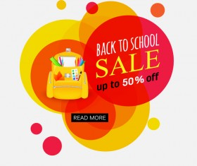 Back to school sale background vectors material 01