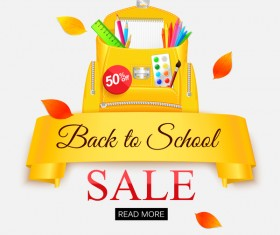 Back to school sale background vectors material 02