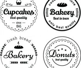 Bakery and cupcake circles labels vector