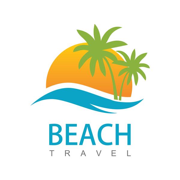 Beach travel logo vector free download
