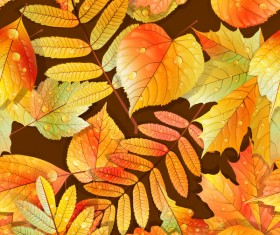 Beautiful autumn leaves with water drop seamless pattern vectors 03